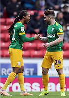 Preston North End's Daniel Johnson (left) celebrates with team-mate Sean Maguire after scoring the opening goal <br /> <br /> Photographer Rich Linley/CameraSport<br /> <br /> The EFL Sky Bet Championship - Blackburn Rovers v Preston North End - Saturday 9th March 2019 - Ewood Park - Blackburn<br /> <br /> World Copyright © 2019 CameraSport. All rights reserved. 43 Linden Ave. Countesthorpe. Leicester. England. LE8 5PG - Tel: +44 (0) 116 277 4147 - admin@camerasport.com - www.camerasport.com