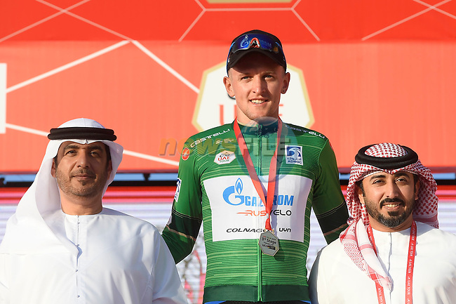Stepan Kuriyanov (RUS) Gazprom–Rusvelo also takes over the Green Jersey at the end of Stage 3 of the 2019 UAE Tour, running 179km form Al Ain to Jebel Hafeet, Abu Dhabi, United Arab Emirates. 26th February 2019.<br /> Picture: LaPresse/Fabio Ferrari | Cyclefile<br /> <br /> <br /> All photos usage must carry mandatory copyright credit (© Cyclefile | LaPresse/Fabio Ferrari)