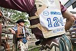 Bull riders await the start of competition at the Mareeba Rodeo.  Mareeba, Queensland, Australia