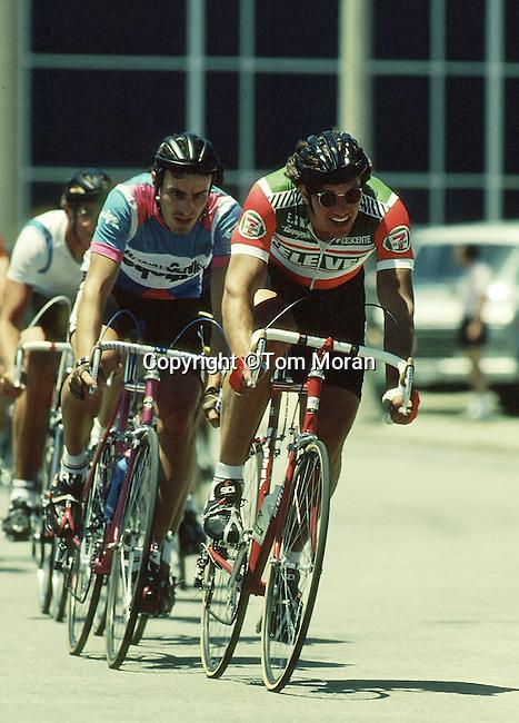Eric Hieden racing in the Union Terminal Criterium..Cincinnati, Ohio  July 1985.Photo by Tom Moran