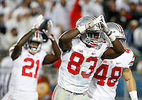 Ohio State Buckeyes wide receiver Terry McLaurin (83) celebrates after forcing a safety during Saturday's Division I NCAA football game against the Penn State Nittany Lions in State College, Pa., on Saturday, October 22, 2016. Penn State won the game 24-21.(Barbara J. Perenic/Photographer)