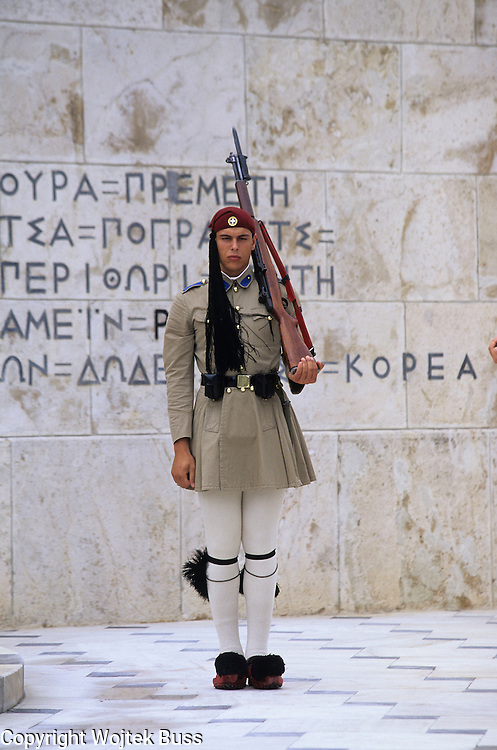 Greece,Athens,Evzone Guards marching in front of Parliament Building,Syntagma Square