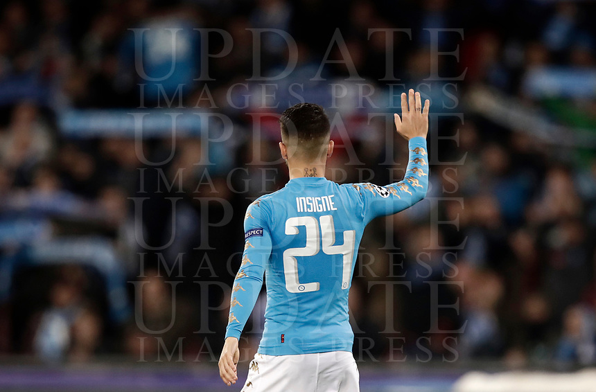 Football Soccer: UEFA Champions League Round of 16 second leg, Napoli-Real Madrid, San Paolo stadium, Naples, Italy, March 7, 2017. <br /> Napoli's Lorenzo Insigne greets Napoli's supporters after the Champions League football soccer match between Napoli and Real Madrid at the San Paolo stadium, 7 March 2017. <br /> Real Madrid won 3-1 to reach the quarter-finals.<br /> UPDATE IMAGES PRESS/Isabella Bonotto