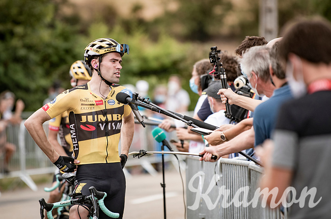 post-race interviewing with Tom Dumoulin (NED/Jumbo-Visma) in Covid19 times<br /> <br /> Stage 1: Clermont-Ferrand to Saint-Christo-en-Jarez (218km)<br /> 72st Critérium du Dauphiné 2020 (2.UWT)<br /> <br /> ©kramon