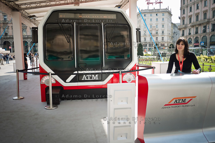 The new subway trains on show in Duomo square in Milan, on March 31, 2014. Photo: Adamo Di Loreto/BuenaVista*photo