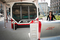 The new subway trains on show in Duomo square in Milan, on March 31, 2014. Photo: Adamo Di Loreto/BuenaVista*photo