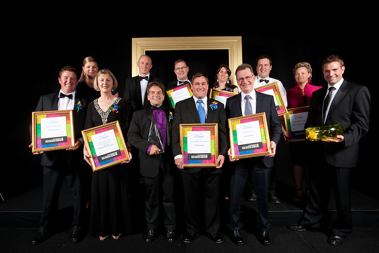2011 winners - back l-r Michele Lally, Phil Sims, Kevin Webb, Christine Flynn front Phil Lally, x, Cole Thomas, Steve Burdette, Michael Horrocks, Darren Thomas 2011 South Australian Premiers Food Awards. At the Convention Centre.