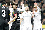 Real Madrid's Gareth Bale, Karim Benzema and Karim Benzema celebrate goal during La Liga match. March 20,2016. (ALTERPHOTOS/Acero)