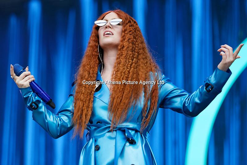 Pictured: Jess Glynne performs on stage. Saturday 26 May 2018<br /> Re: BBC Radio 1 Biggest Weekend at Singleton Park in Swansea, Wales, UK.