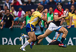 Hong Kong vs Brazil during their HSBC Sevens Wold Series Qualifier match as part of the Cathay Pacific / HSBC Hong Kong Sevens at the Hong Kong Stadium on 27 March 2015 in Hong Kong, China. Photo by Victor Fraile / Power Sport Images