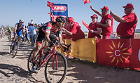 race leaders Greg Van Avermaet (BEL/BMC) & Zdenek Stybar (CZE/Quick Step Floors) at the Carrefour de l'Arbre sector<br /> <br /> 115th Paris-Roubaix 2017 (1.UWT)<br /> One Day Race: Compiègne › Roubaix (257km)