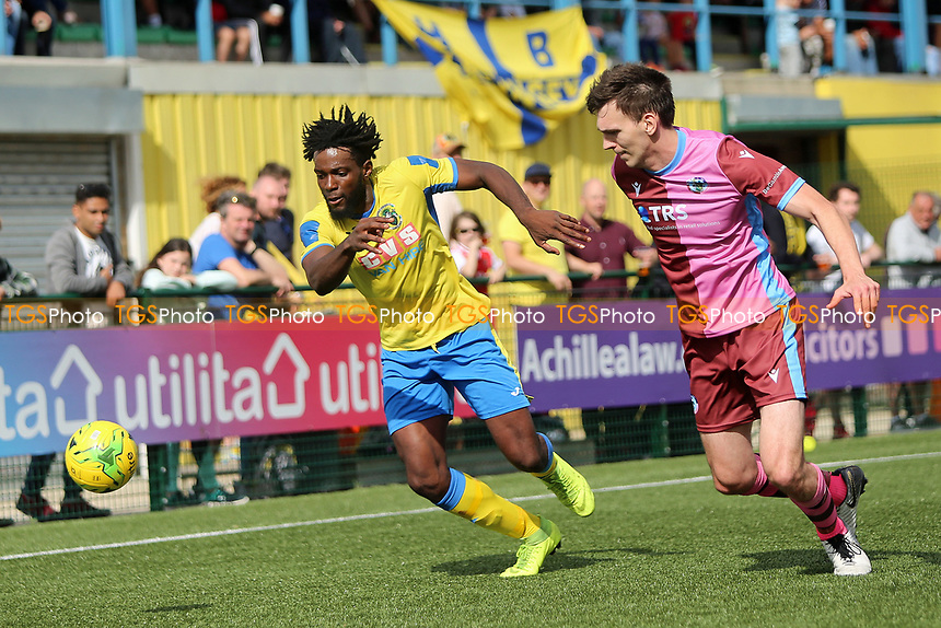 Chidubem Onokwai of Haringey and Andrew Mills of Corinthians during Haringey Borough vs Corinthian Casuals, BetVictor League Premier Division Football at Coles Park Stadium on 10th August 2019