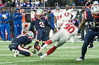 FOXBORO, MA - OCTOBER 10: New England Patriots Kicker Nick Folk (2) for the extra point during a game between New York Giants and New England Patriots at Gillettes on October 10, 2019 in Foxboro, Massachusetts.