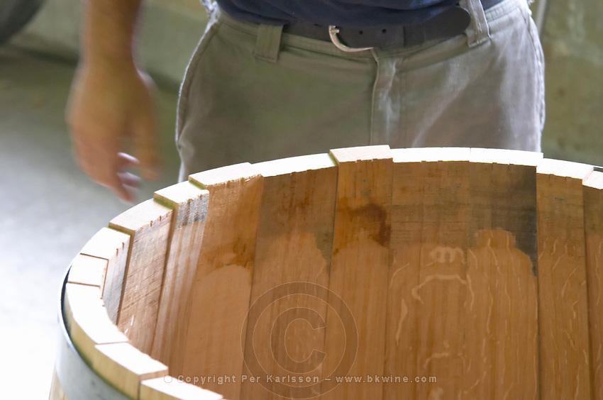 Assembling the staves. Cooperage, barrel manufacturing, Cadus, Louis Jadot, Ladoix, Beaune, Burgundy, France