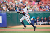 Gwinnett Braves left fielder Ronald Acuna (24) running the bases in the top of the first inning during a game against the Buffalo Bisons on August 19, 2017 at Coca-Cola Field in Buffalo, New York.  Gwinnett defeated Buffalo 1-0.  (Mike Janes/Four Seam Images)