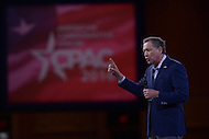 National Harbor, MD - March 4, 2016: Presidential candidate and Ohio Governor John Kasich addresses attendees of the 2016 Conservative Political Action Conference, hosted by the American Conservative Union, at the Gaylord National Hotel in National Harbor, MD, March 4, 2016. Each year, CPAC brings thousands of  people together to hear and interact with conservative movement leaders.   (Photo by Don Baxter/Media Images International)