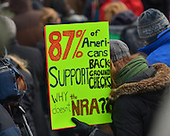 January 26, 2013  (Washington, DC)  A woman holds a sign during the March on Washington for Gun Control.  (Photo by Don Baxter/Media Images International)