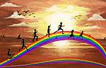 Illustration of kids running on rainbow representing fun