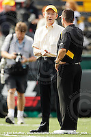 September 11, 2010; Hamilton, ON, CAN; Hamilton Tiger-Cats owner Bob Young and head coach Marcel Bellefeuille. CFL football: Montreal Alouettes vs. Hamilton Tiger-Cats at Ivor Wynne Stadium. The Alouettes defeated the Tiger-Cats 27-6. Mandatory Credit: Ron Scheffler. Copyright (c) 2010 Ron Scheffler.