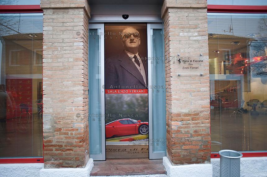 Una immagine di Enzo Ferrari nella pista di Fiorano.The Enzo Ferrari Hall at the Ferrari's headquarter in Maranello.