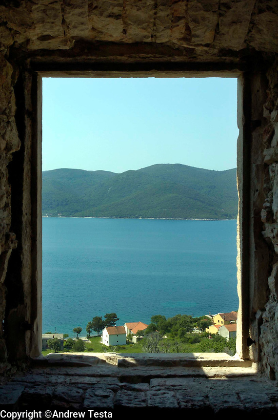 Croatia. 20th May 2004. The view from an abandoned Croatian farmhouse on the coast north of Dubrovnik. ©Andrew Testa