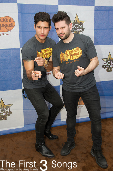Dan Smyers and Shay Mooney of Dan + Shay attend the Cracker Barrel Old Country Store Country Checkers Challenge at Globe Life Park in Arlington on April 18, 2015 in Arlington, Texas