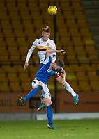 12th February 2020; McDairmid Park, Perth, Perth and Kinross, Scotland; Scottish Premiership Football, St Johnstone versus Motherwell; Mark O'Hara of Motherwell dominates in the air over Anthony Ralston of St Johnstone