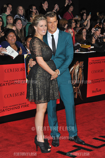 Alan Ritchson &amp; wife at the US premiere of his movie &quot;The Hunger Games: Catching Fire&quot; at the Nokia Theatre LA Live.<br /> November 18, 2013  Los Angeles, CA<br /> Picture: Paul Smith / Featureflash