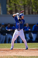 Michael Bozarth (17) of the Saint Louis Billikens at bat against the Davidson Wildcats at Wilson Field on March 28, 2015 in Davidson, North Carolina. (Brian Westerholt/Four Seam Images)