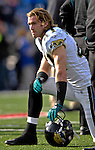 26 November 2006: Jacksonville Jaguars safety Nick Sorensen (41) watches the play from the sidelines during a game against the Buffalo Bills at Ralph Wilson Stadium in Orchard Park, NY. The Bills defeated the Jaguars 27-24. Mandatory Photo Credit: Ed Wolfstein Photo<br />