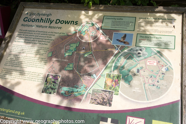 Information panel about national nature reserve, Goonhilly Downs, Lizard Peninsula, Cornwall, England, UK