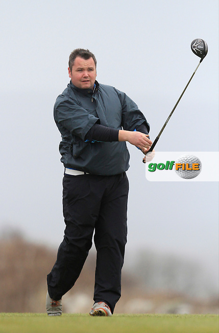 Aaron Grant (Dundalk) during the 36 hole stroke play qualifying on April 3rd 2015 for the 2015 West of Ireland Open Championship, Co. Sligo, Golf Club, Rosses Point, Sligo, Ireland.<br /> Picture: Thos Caffrey / Golffile