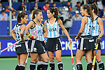 The Hague, Netherlands, June 10: Players of Argentina wait for the umpires desicion during the field hockey group match (Women - Group B) between Argentina and China on June 10, 2014 during the World Cup 2014 at GreenFields Stadium in The Hague, Netherlands. Final score 1-1 (yy-yy) (Photo by Dirk Markgraf / www.265-images.com) *** Local caption *** Gisele Juarez #22 of Argentina, Martina Cavallero #7 of Argentina, Mariana Rossi #2 of Argentina, Maria Josefina Sruoga #30 of Argentina, Silvina D Elia #25 of Argentina