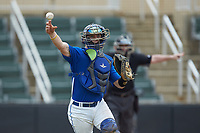 Mars Hill Lions catcher Austin Purser (37) makes a throw to first base after a dropped third strike as home plate umpire Grant Akins makes a safe sign during the game against the Queens Royals at Intimidators Stadium on March 30, 2019 in Kannapolis, North Carolina. The Royals defeated the Bulldogs 11-6 in game one of a double-header. (Brian Westerholt/Four Seam Images)