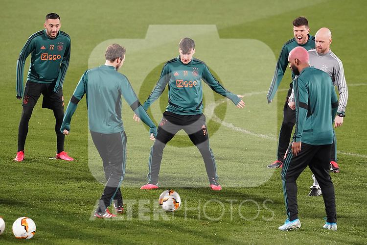 AFC Ajax's Hakim Ziyech, Nicolas Tagliafico, Klass Jan Huntelaar, Ryan Babel and the coach Erik ten Hag during training session. February 19,2020.(ALTERPHOTOS/Acero)