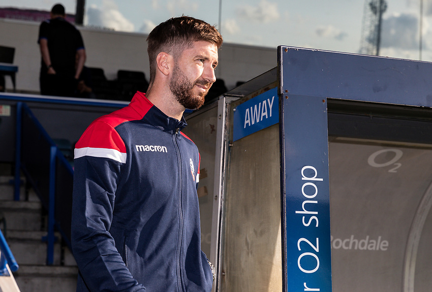 Bolton Wanderers' Luke Murphy go out to inspect the pitch before the match<br /> <br /> Photographer Andrew Kearns/CameraSport<br /> <br /> The Carabao Cup First Round - Rochdale v Bolton Wanderers - Tuesday 13th August 2019 - Spotland Stadium - Rochdale<br />  <br /> World Copyright © 2019 CameraSport. All rights reserved. 43 Linden Ave. Countesthorpe. Leicester. England. LE8 5PG - Tel: +44 (0) 116 277 4147 - admin@camerasport.com - www.camerasport.com