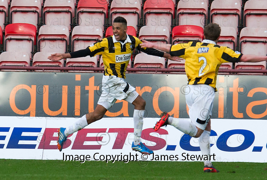 East Fife's Nathan Austin celebrates after he scores their second goal.