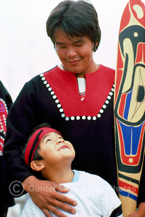 Native American Tlingit Indian Father and Son in Traditional Ceremonial Regalia at Pow Wow, BC, British Columbia, Canada (No Model Release Available)