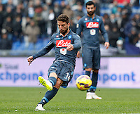 Calcio, Serie A: Lazio vs Napoli. Roma, stadio Olimpico, 18 gennaio 2015.<br /> Napoli's Dries Mertens kicks a free kick during the Italian Serie A football match between Lazio and Napoli at Rome's Olympic stadium, 18 January 2015.<br /> UPDATE IMAGES PRESS/Riccardo De Luca