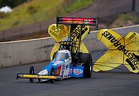 Jul 20, 2019; Morrison, CO, USA; NHRA top fuel driver Brittany Force during qualifying for the Mile High Nationals at Bandimere Speedway. Mandatory Credit: Mark J. Rebilas-USA TODAY Sports