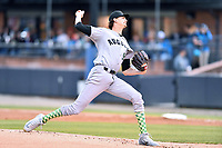 Augusta GreenJackets starting pitcher Sean Hjelle (54) delivers a pitch during a game against the Asheville Tourists at McCormick Field on April 4, 2019 in Asheville, North Carolina. The GreenJackets defeated the Tourists 9-5. (Tony Farlow/Four Seam Images)