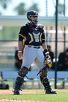Pittsburgh Pirates catcher Andrew Dennis (57) during a minor league spring training intrasquad game on March 30, 2014 at Pirate City in Bradenton, Florida.  (Mike Janes/Four Seam Images)