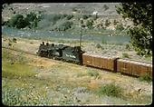 #492 K-37 hauling box cars possibly along Animas River.<br /> D&amp;RGW