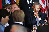 United States President Barack Obama joins a luncheon hosted by United Nations Secretary-General Ban Ki-moon during the 70th annual UN General Assembly at the UN headquarters September 28, 2015 in New York City. Obama held a bilateral meeting with Indian Prime Minister Narendra Modi and will have a face-to-face meeting with Russian President Vladimir Putin later in the day. <br /> Credit: Chip Somodevilla / Pool via CNP