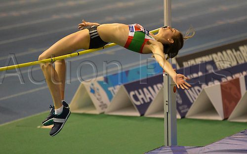 27.02.2016. EIS Sheffield, Sheffield, England. British Indoor Athletics Championships Day One. Isobel Pooley competing in the High Jump final.