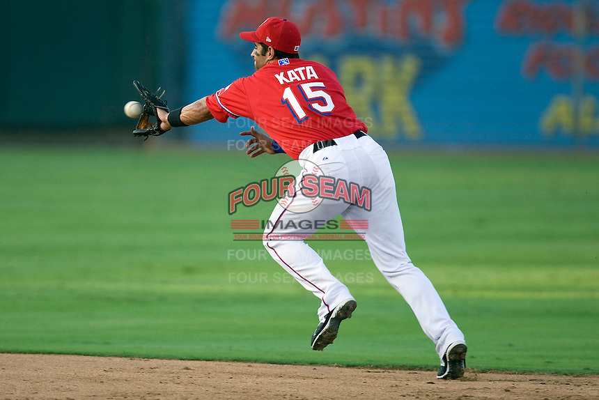 Round Rock Express second baseman Matt Kata #15 reaches for a ground ball during a game against the New Orleans Zephyrs at the Dell Diamond on July 20, 2011 in Round Rock, Texas.  New Orleans defeated Round Rock 14-11.  (Andrew Woolley/Four Seam Images)
