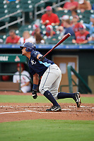 Charlotte Stone Crabs catcher David Rodriguez (10) at bat during a game against the Palm Beach Cardinals on July 22, 2017 at Roger Dean Stadium in Palm Beach, Florida.  Charlotte defeated Palm Beach 5-2.  (Mike Janes/Four Seam Images)
