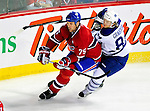 10 April 2010: Montreal Canadiens' defenseman Hal Gill skates ahead of Mikhail Grabovski during the last game of the regular season against the Toronto Maple Leafs at the Bell Centre in Montreal, Quebec, Canada. The Leafs defeated the Habs 4-3 in sudden death overtime as the Canadiens advance to the Stanley Cup Playoffs with the single point. Mandatory Credit: Ed Wolfstein Photo