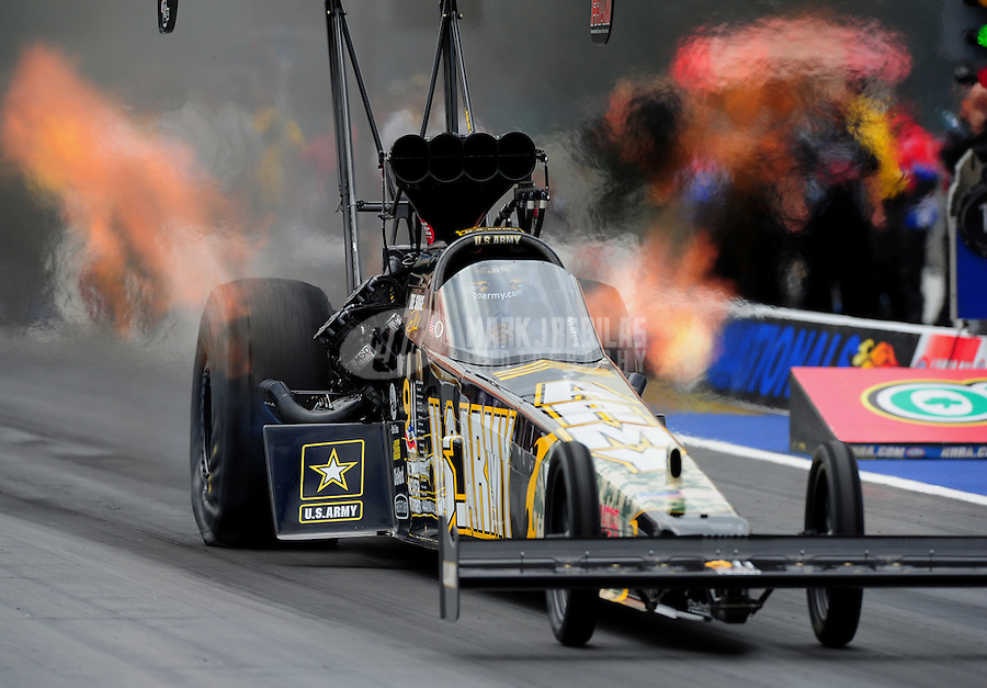 Sept. 18, 2011; Concord, NC, USA: NHRA top fuel dragster driver Tony Schumacher during the O'Reilly Auto Parts Nationals at zMax Dragway. Mandatory Credit: Mark J. Rebilas-