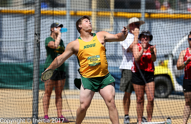 FARGO, ND - MAY 13: Steffan Storoh from North Dakota State University throws the discus during the finals Saturday at the 2017 Summit League Outdoor Track Championship at the Ellig Sports Complex in Fargo, ND. (Photo by Dave Eggen/Inertia)